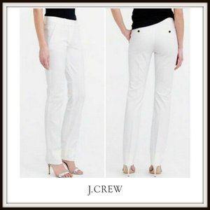 J. Crew White Stretch Cotton Straight Pants